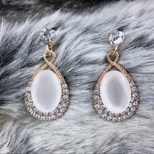 Antique Style Rhinestone Moonstone Earrings